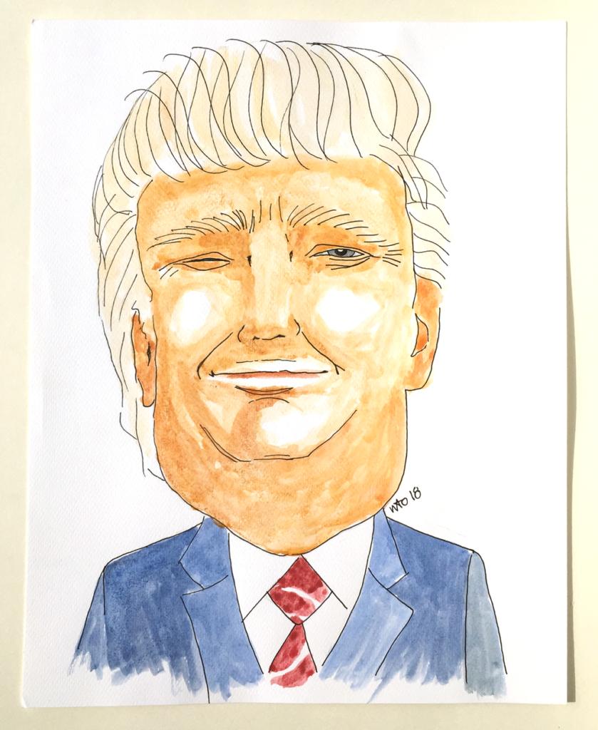 Donald Trump illustration akvarel